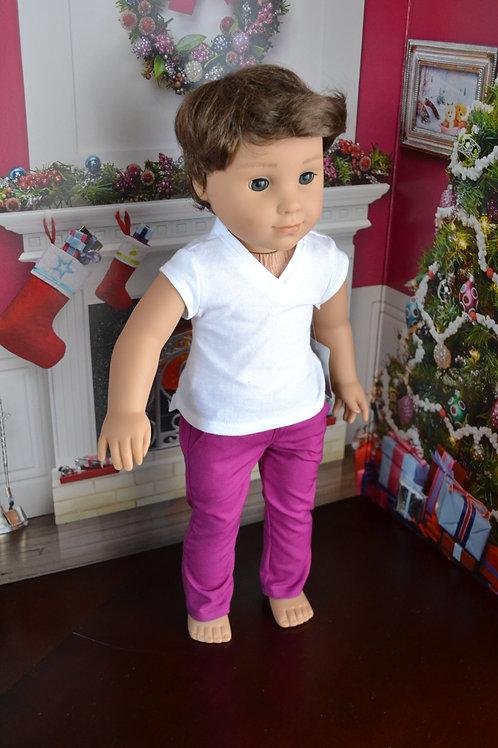 Fuschia Chinos for 18 inch Dolls