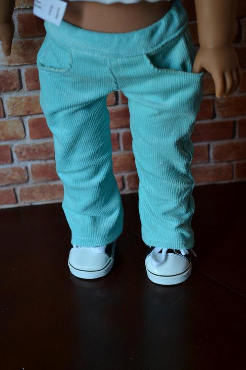 Aqua Corduroy Pants for 18 inch Dolls