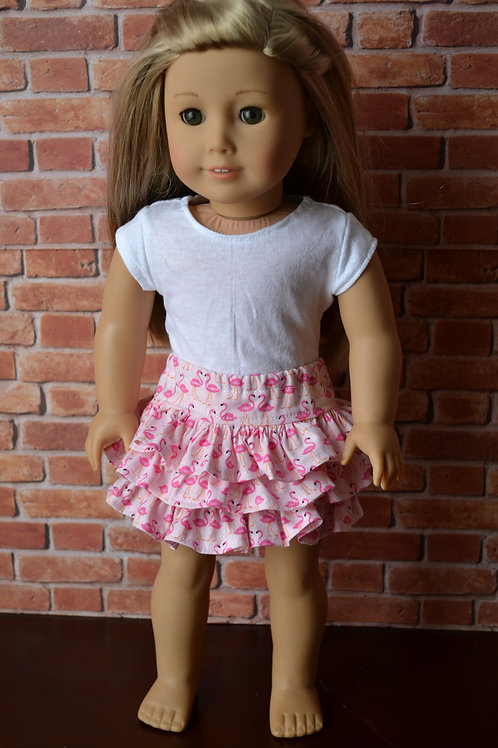 Flamingo Flirty Skirt for 18 inch Dolls