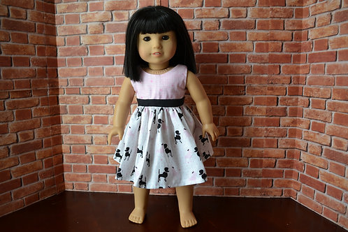Pink and Black Poodles Colorblock Dress for 18 inch Dolls