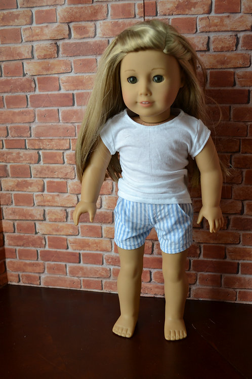 Blue and White Striped Moto Pocket Shorts for 18 inch Dolls