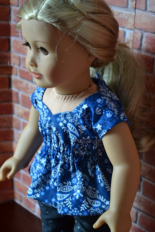 Blue Floral Sweetheart Top for 18 inch Dolls