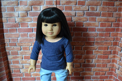 Heather Navy 3/4 length Sleeve T-shirt for 18 inch Doll