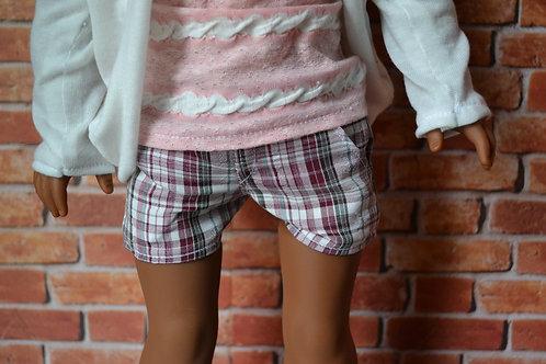 Ingrid Plaid Moto Pocket Shorts for 18 inch Dolls