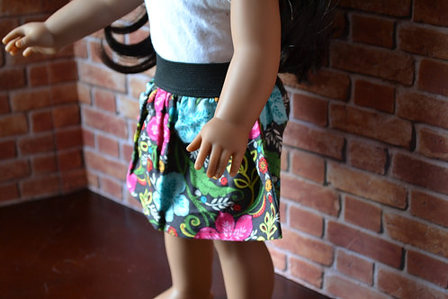 Paisley Floral Elastic Skirt for 18 inch Dolls