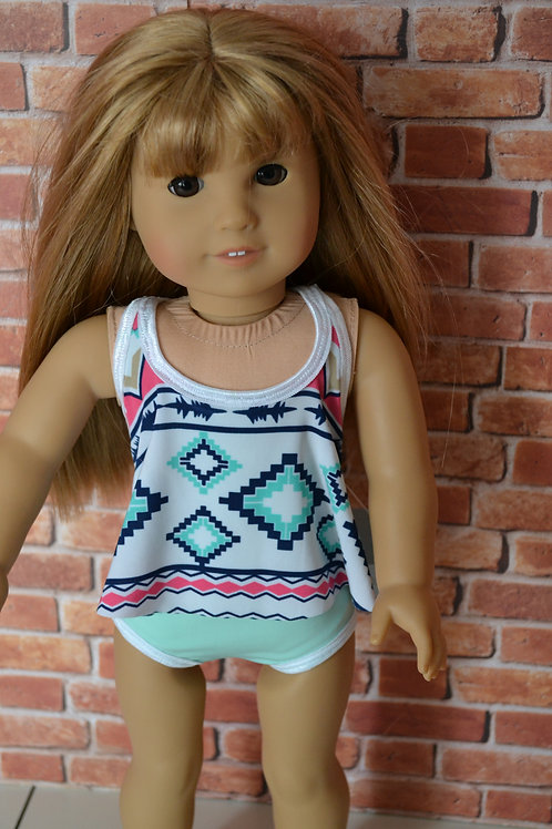 Criss Cross Tiered Swimsuit for 18 inch Dolls