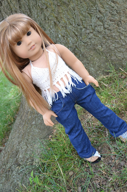 Bohemian Crocheted Fringe Halter Top Cream for 18 inch Doll