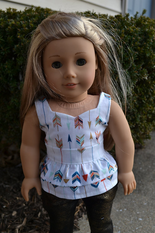 Multi Arrows Peplum Top for 18 inch Dolls