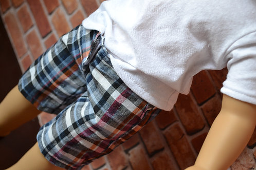 Tabitha Plaid Long Shorts for 18 inch Dolls