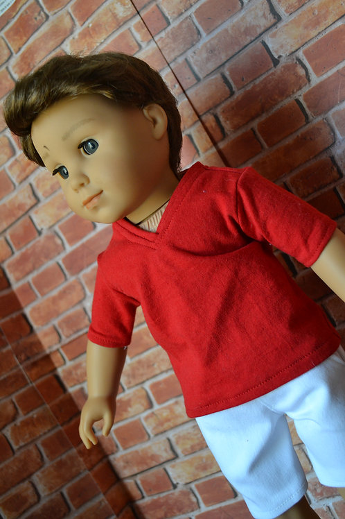 Red V-neck Boy Style T-Shirt for 18 inch Doll