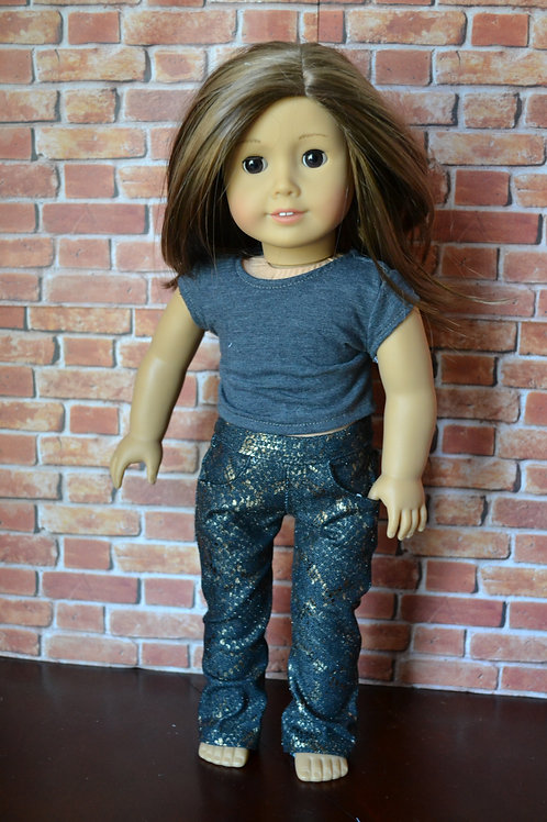 Metallic Snakeskin Straight Leg Jeans with real pockets  for 18 inch Do