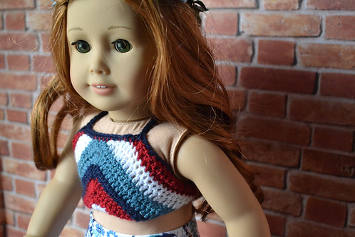 Bohemian Crocheted Halter Top Americana Chevron for 18 inch Doll