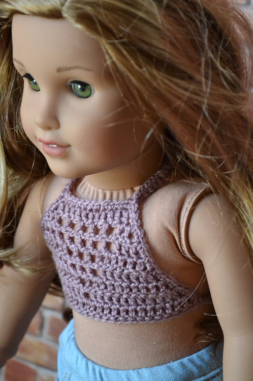 Bohemian Crocheted Halter Top Dusty Rose for 18 inch Doll