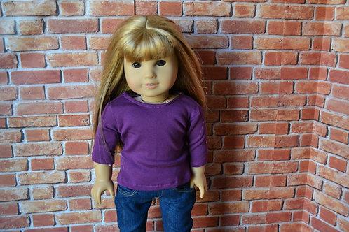 Eggplant Purple 3/4 length Sleeve T-shirt for 18 inch Doll