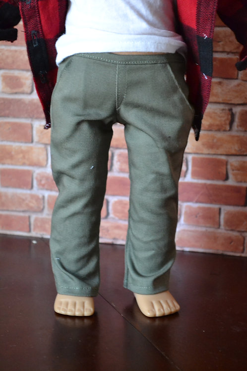 Olive Green Chinos for 18 inch Dolls