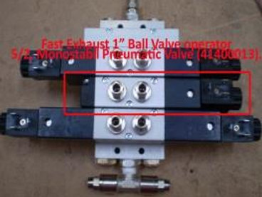 "Fast Exhaust, 1"" Ball Valve operator valve is 5/2,"