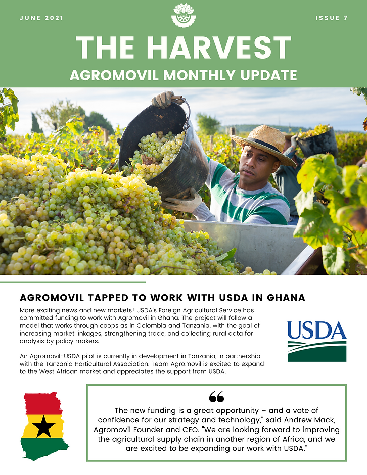 Funding from USDA FAS for Ghana, Version 1.3 released with exciting changes, work with ASCOOP to build co-op relationships in Colombia, new interns join the team, and free Agromovil stickers!