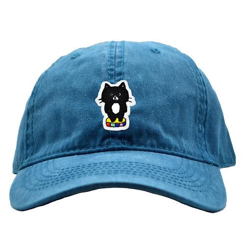 刺繍キャップ_黒猫(ブルー)