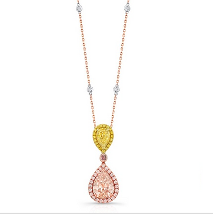 18K FANCY COLOR DIAMOND NECKLACE