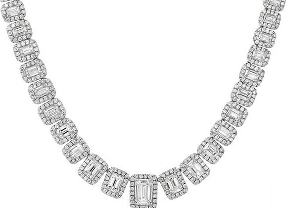 18K EMERALD-CUT DIAMOND NECKLACE
