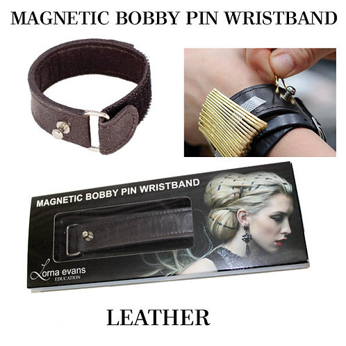 Magnetic Bobby Pin Wristband - Natural Leather