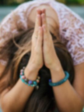 Woman hands together symbolizing prayer
