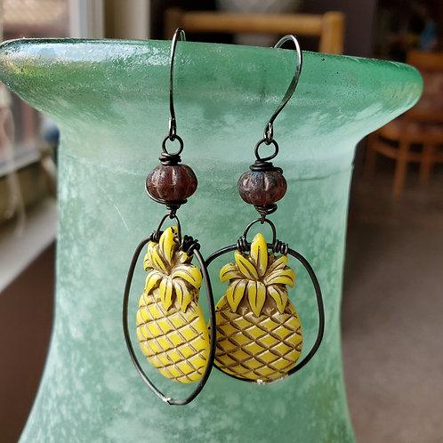 Vintage German Resin Pineapple Earrings
