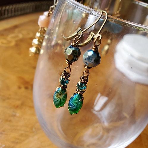 Druzy Quartz with Vintage Glass Earrings