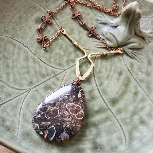 Turritella Agate stone on Vintage Funky Chain