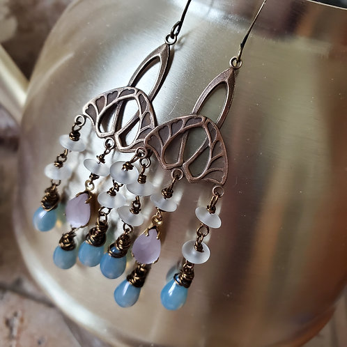 Dusty Deco Chandelier Earrings