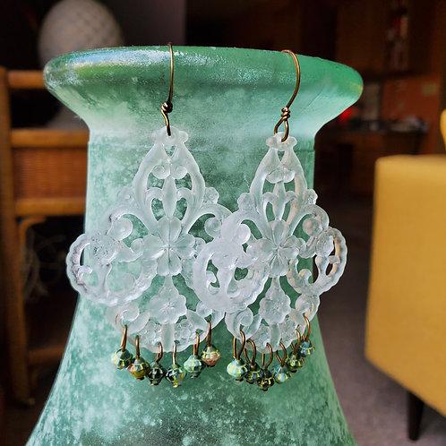 White Lace Vintage German Resin Earrings
