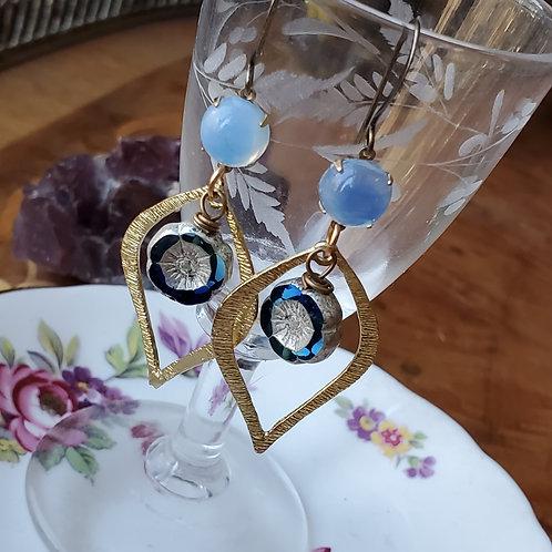 Opalescent Hibiscus Earrings