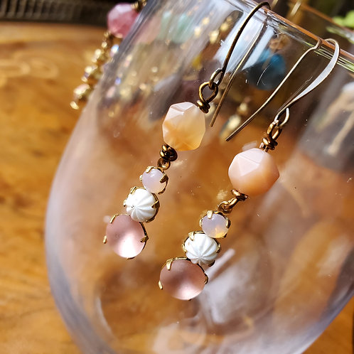 Peach Moonstone with Ivory and Peach Glass