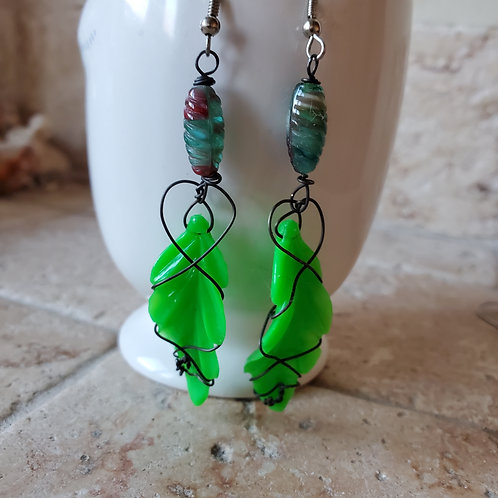 Funky Green German Resin Leaf Earrings