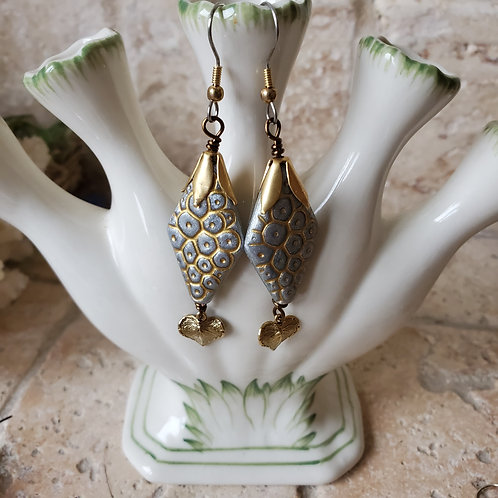 Silver Pod bead with Gold Leaf