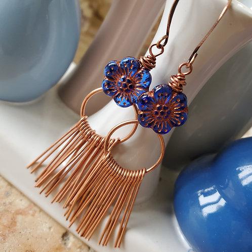 Copper Fringe Flower Earrings