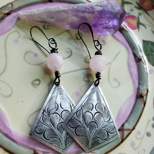 Pink Morganite Hills Tribe Earrings