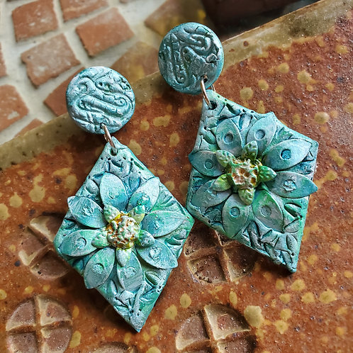 Multimedia Blooms on Turquoise, Aqua and Jade Green