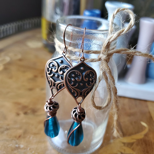 Teal Blue with Copper Earrings
