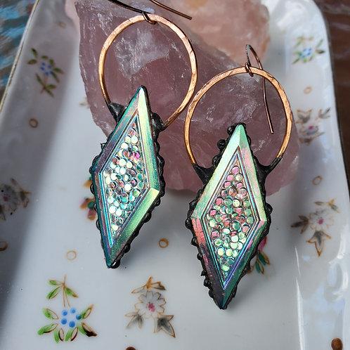 Vintage Diamond Glass  Earrings