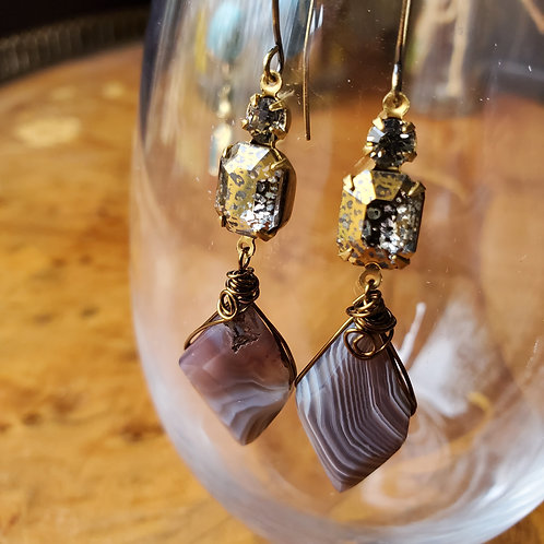 Vintage glass drop with Botswana Agate