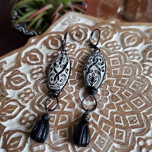 Maori Inspired Vintage Bead Earrings