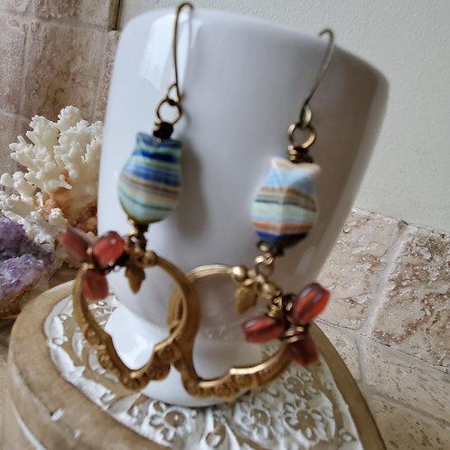 Vintage Tulip Hoop Earrings