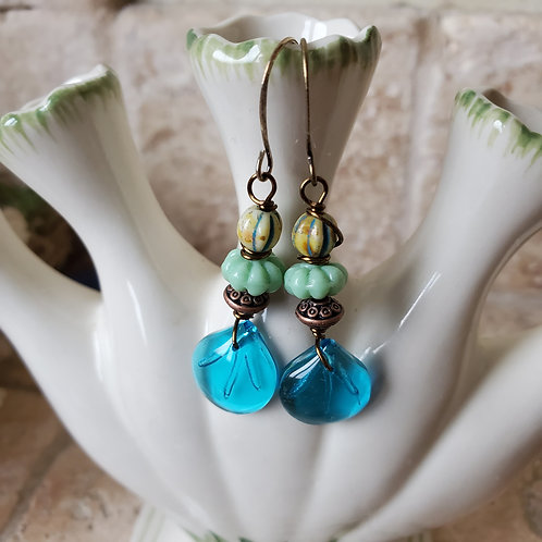 Aqua Glass Leaf with Mint and yellow beads