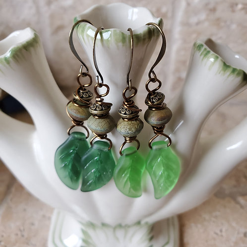 Vintage Glass Leaf w/Rustic Bead