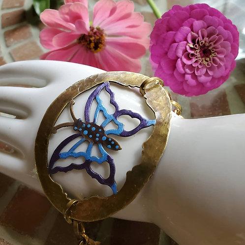 Vintage Brass Butterfly Bracelet
