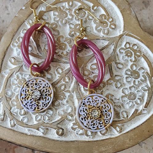 Small lavendar medallions w/vintage lucite
