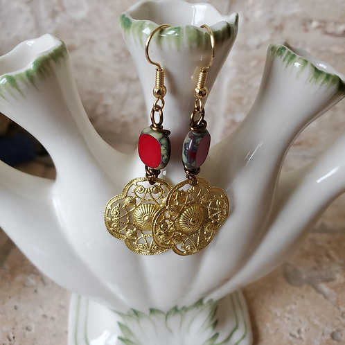 Red Glass with Gold Filigree