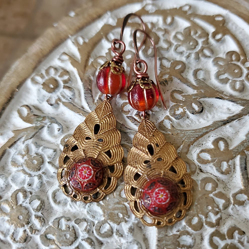 Vintage Filigree Teardrop Drenched in Red