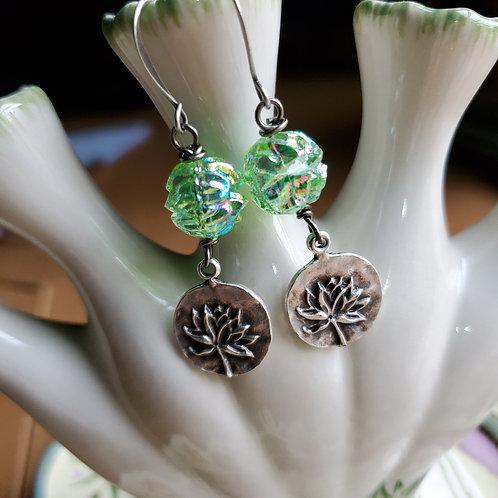 Green Lotus Earrings